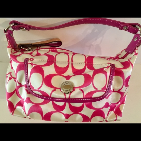 c868d703fe0 Coach Handbags - Hot pink & white small Coach purse. Used